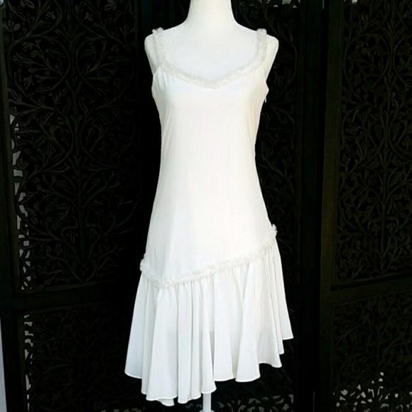 ba83ea35e4e0 cinq a sept Dresses | Castiel 100 Silk Ruffle Asymmetrical Ivory ...